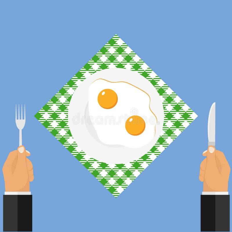 Mani con un coltello e una forcella vicino ad un piatto delle uova fritte illustrazione di stock