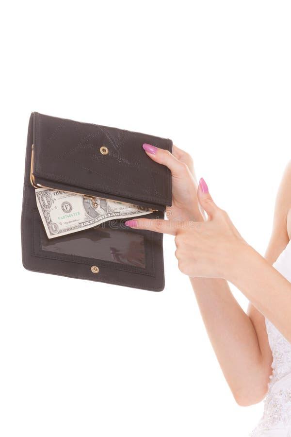 Mani con un dollaro e portafoglio Denaro per le piccole spese fotografie stock libere da diritti