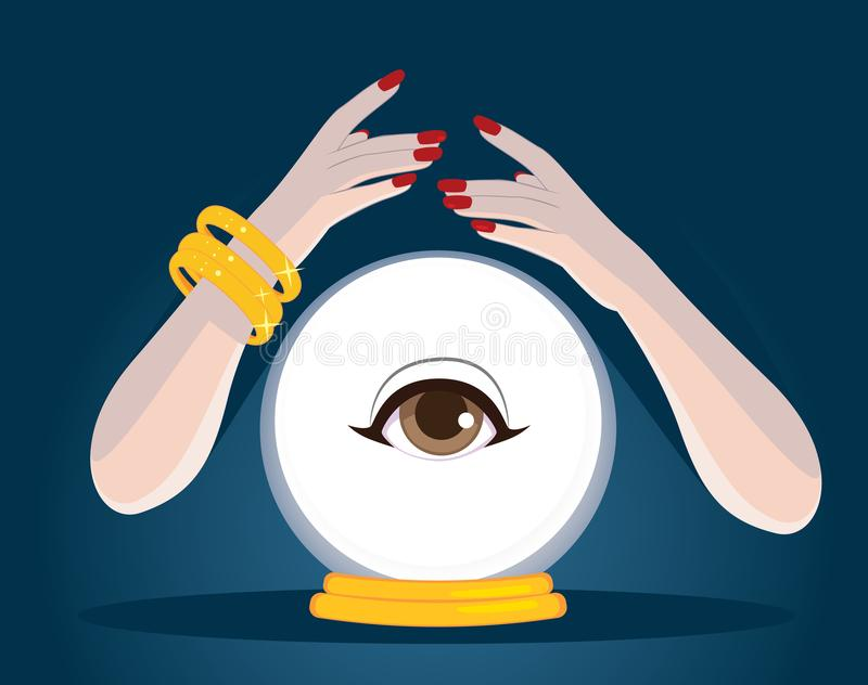 Mani Crystal Ball dell'indovino illustrazione di stock