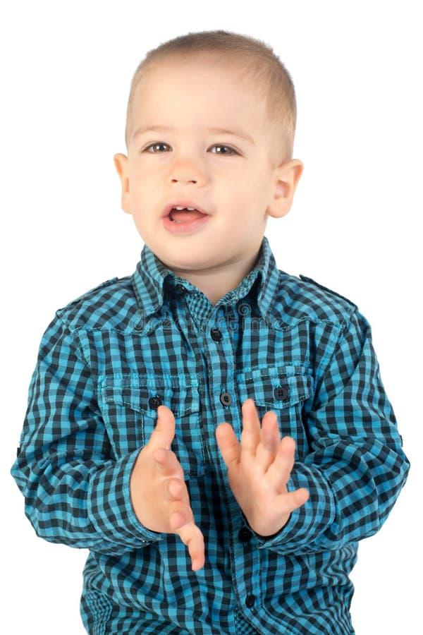 Mani d'applauso del ragazzo fotografie stock libere da diritti