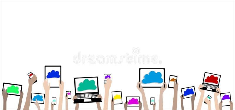 Mani dei bambini di BYOD con l'insegna delle nuvole e dei computer illustrazione vettoriale