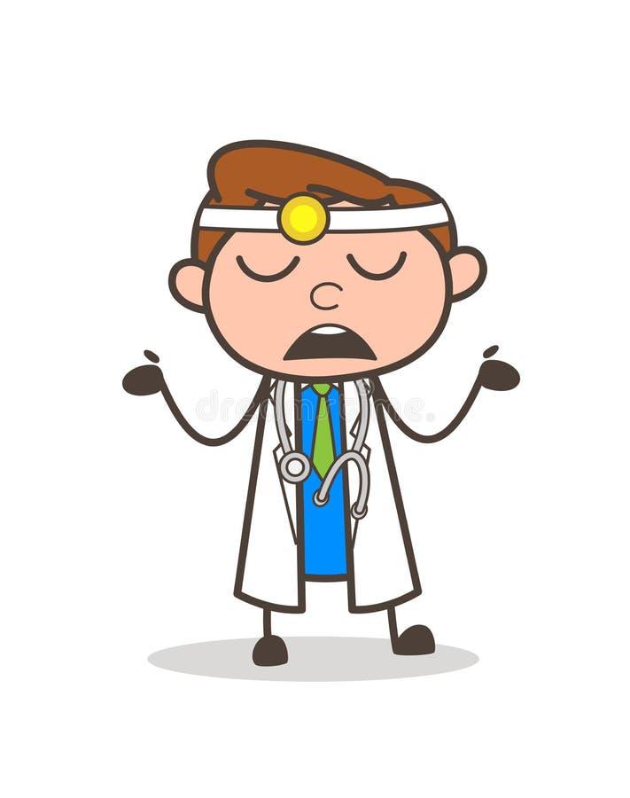 Mani del dottore Showing His Empty del fumetto illustrazione di stock
