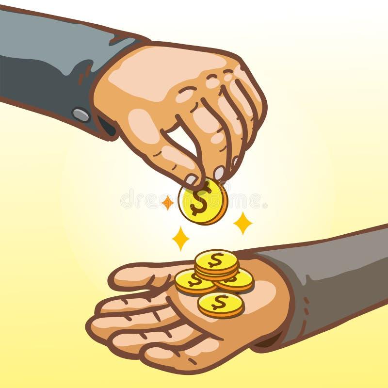 Mani del fumetto che danno e che riscuotono fondi illustrazione di stock