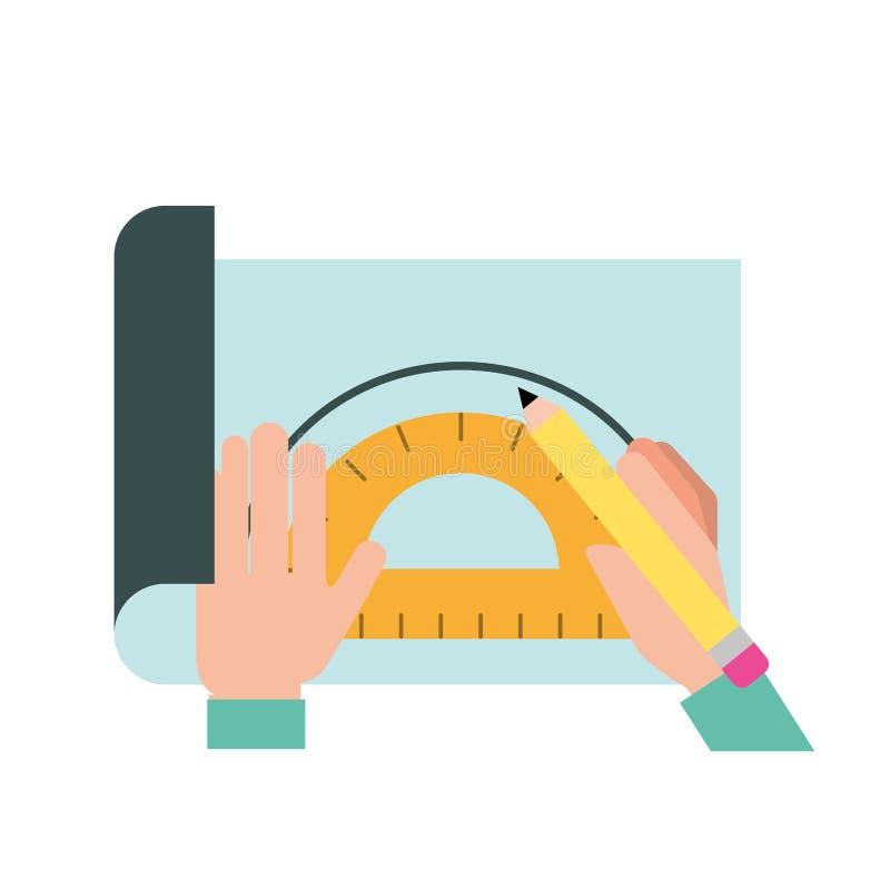 Mani del grafico che funzionano con il goniometro e la matita illustrazione di stock