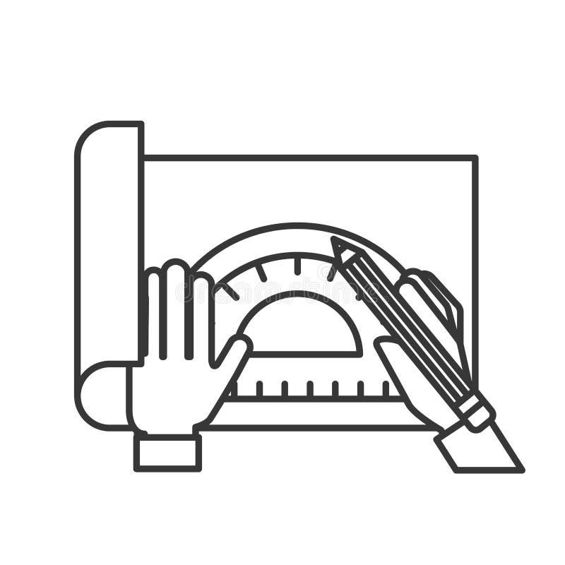Mani del grafico che funzionano con il goniometro e la matita royalty illustrazione gratis
