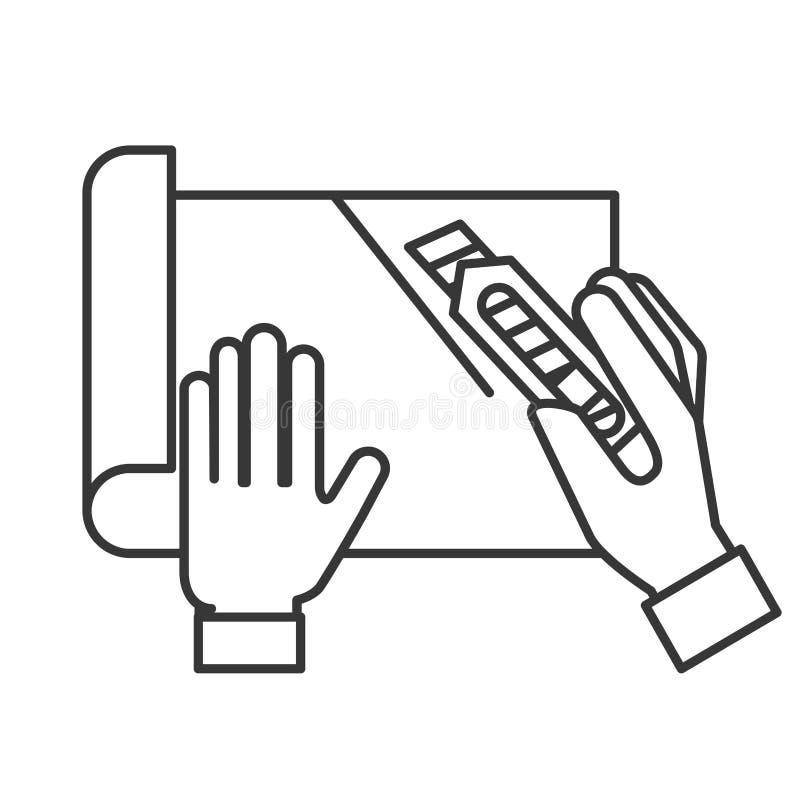 Mani del grafico che tagliano una carta royalty illustrazione gratis