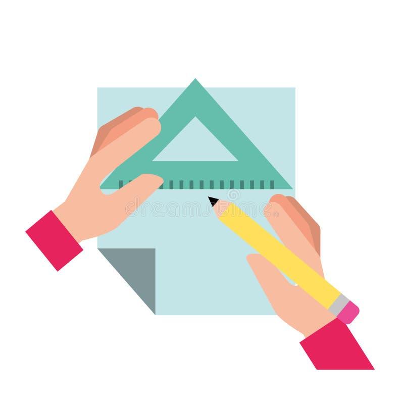 Mani del grafico con il triangolo e la carta del righello della matita illustrazione vettoriale