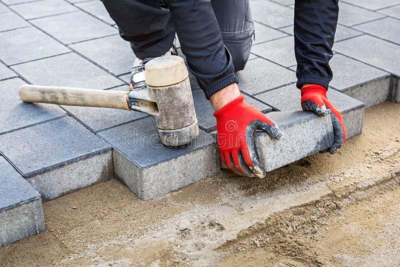 Mani del lavoratore che installano i blocchetti di calcestruzzo del lastricatore con il martello di gomma immagine stock