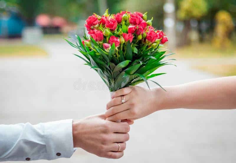 Mani del mazzo di nozze della tenuta dello sposo e della sposa fotografia stock libera da diritti