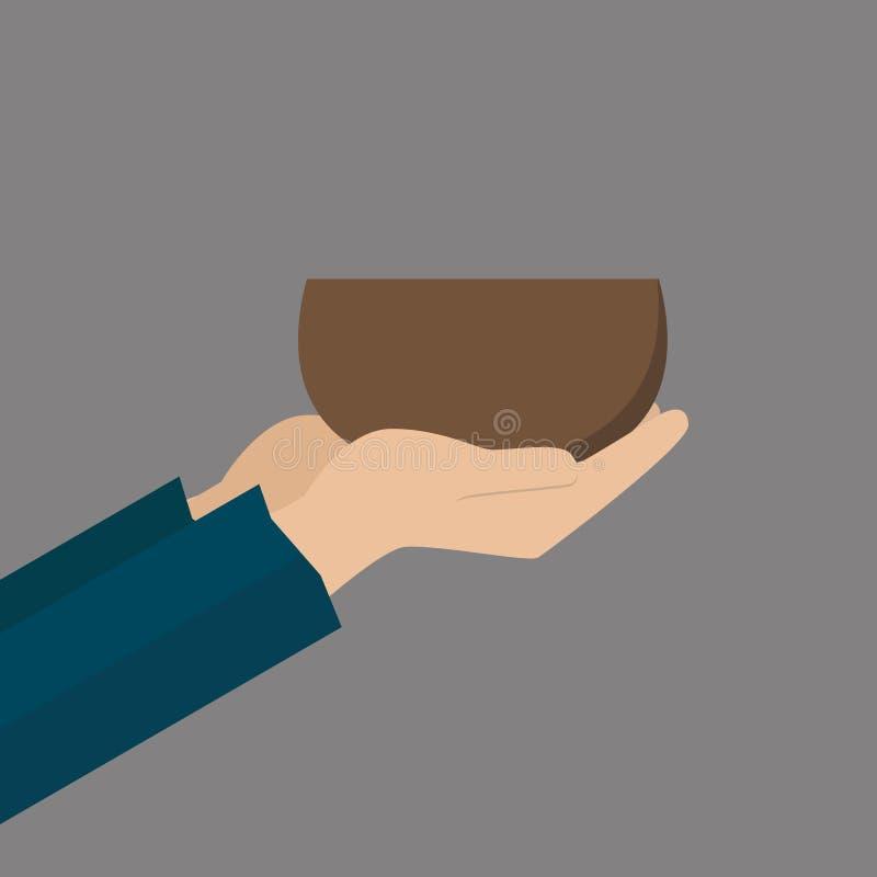 Mani del mendicante con la ciotola royalty illustrazione gratis