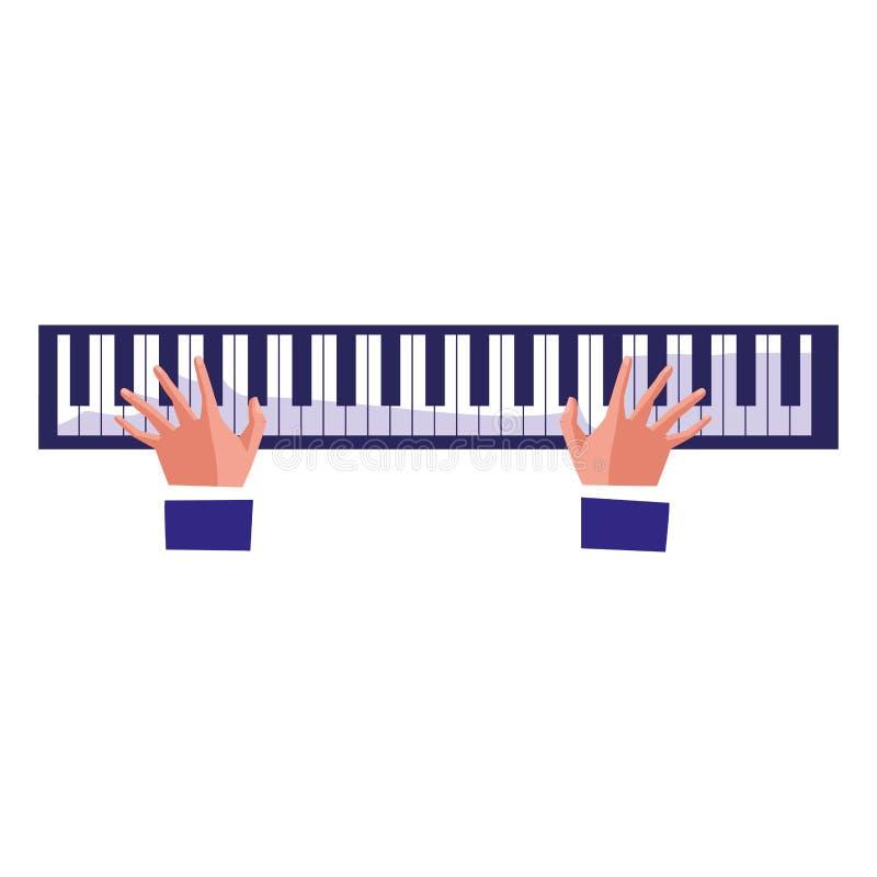 Mani del pianista che giocano piano illustrazione vettoriale