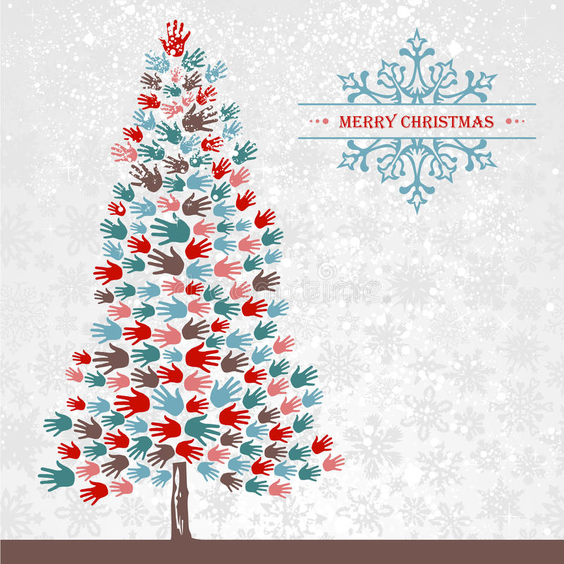 Mani del pino di Natale di diversità royalty illustrazione gratis