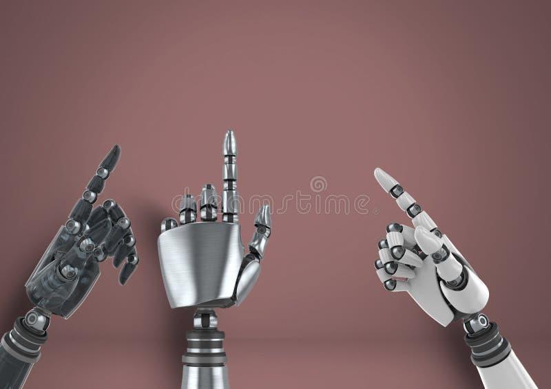 Mani del robot di Android che indicano con il fondo marrone illustrazione vettoriale