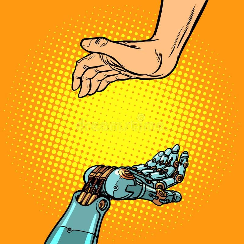 Mani del robot e dell'essere umano Gesto di presentazione illustrazione di stock