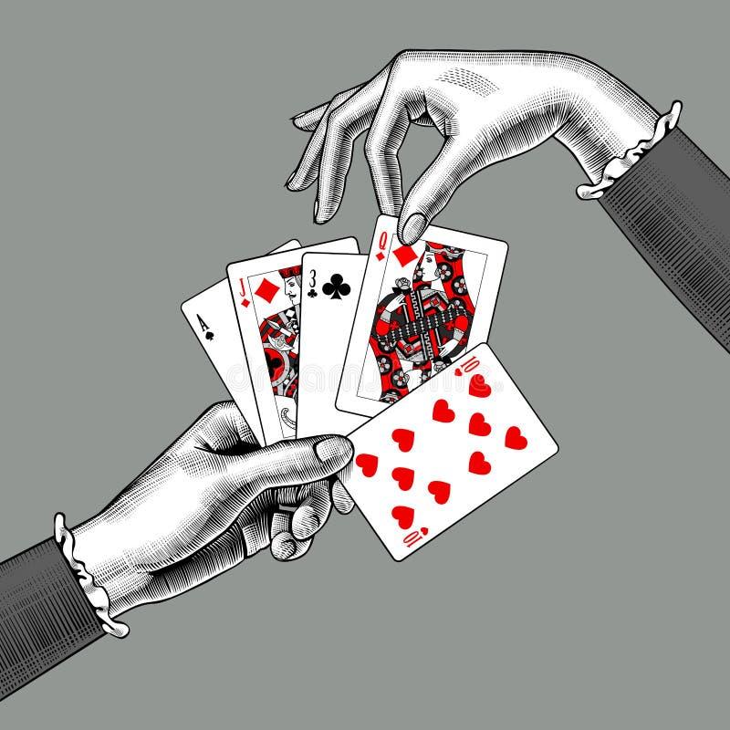 Mani del ` s della donna con il fan delle carte da gioco r royalty illustrazione gratis