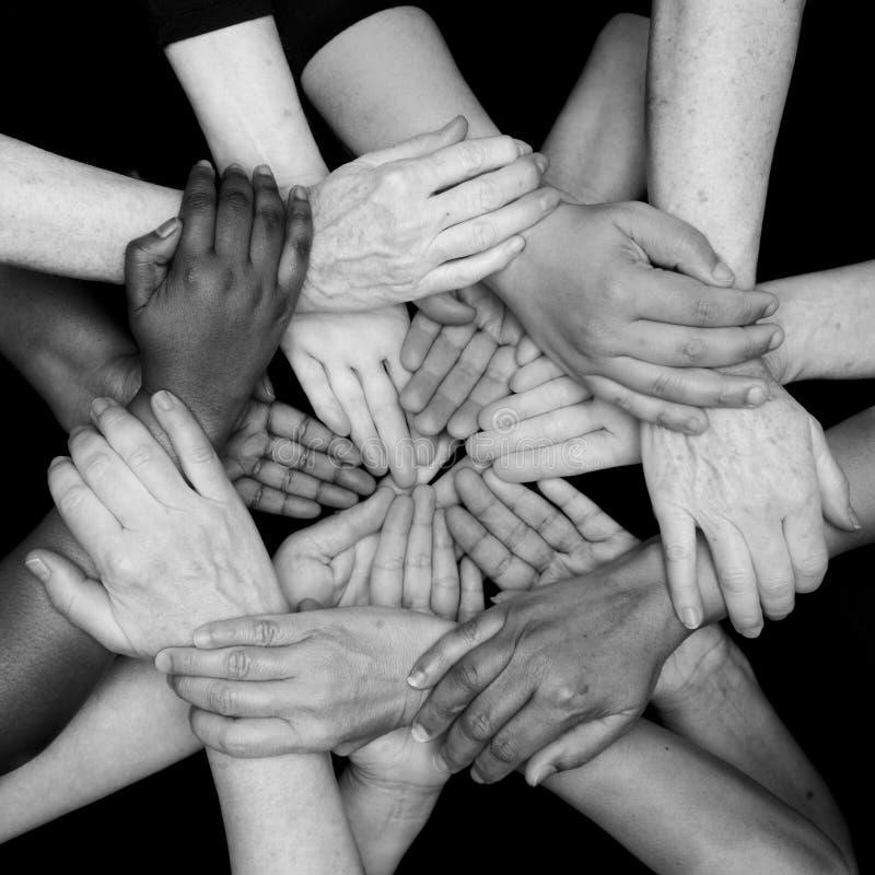 Mani dell'autorizzazione delle donne di diversità di colore fotografia stock