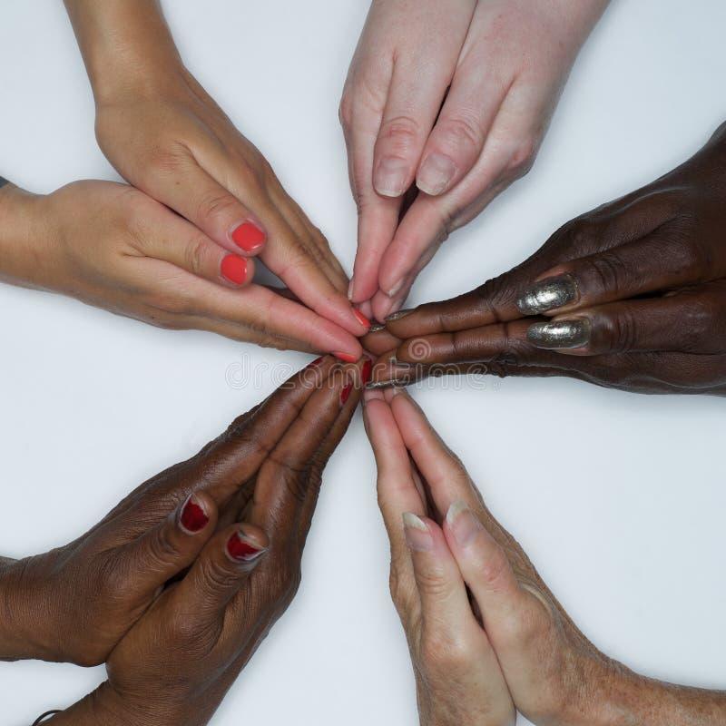 Mani dell'autorizzazione delle donne di diversità di colore fotografie stock