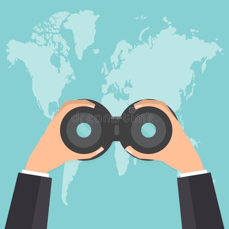Mani dell'uomo d'affari con binoculare guardando la mappa di mondo Vettore i illustrazione vettoriale