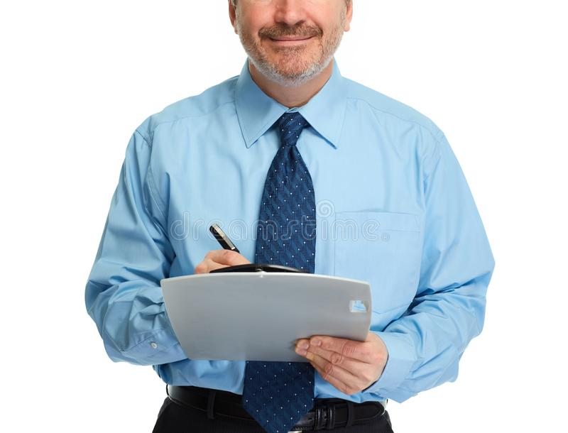 Mani dell'uomo d'affari con la lavagna per appunti fotografie stock libere da diritti