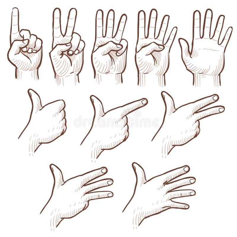 Mani dell'uomo di schizzo del disegno della mano che mostrano l'insieme di scarabocchio di vettore di numeri royalty illustrazione gratis