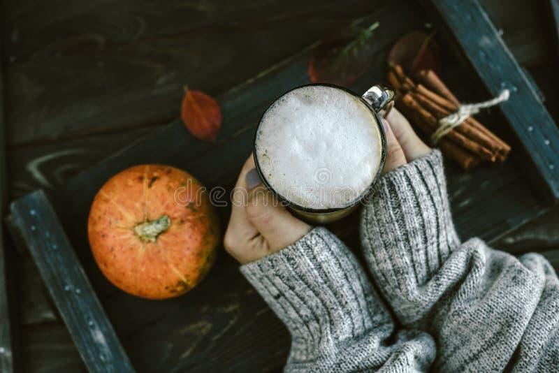Mani della donna con il latte piccante della zucca su un bordo di legno con un interruttore immagine stock