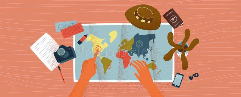 Mani della donna sullo scrittorio con la mappa di mondo per il programma di corsa illustrazione di stock