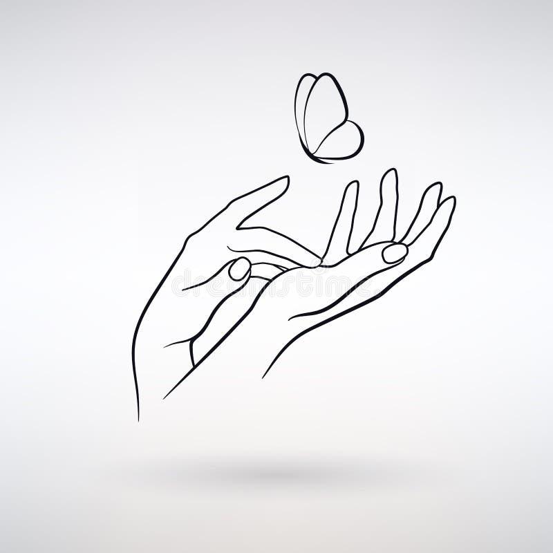 Mani della femmina dell'icona di vettore illustrazione vettoriale