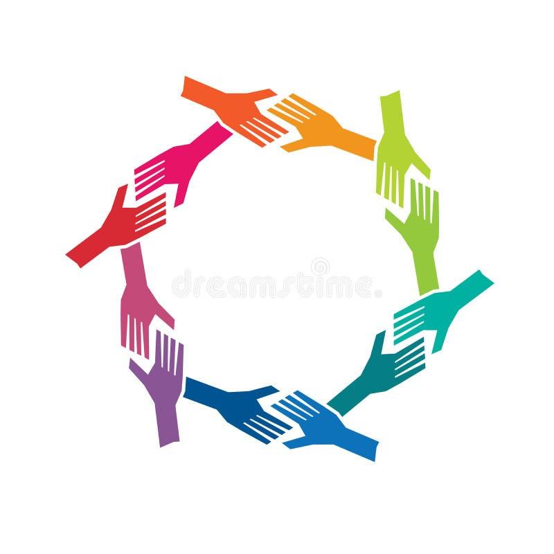 Mani della gente del gruppo oh nel logo del cerchio illustrazione di stock