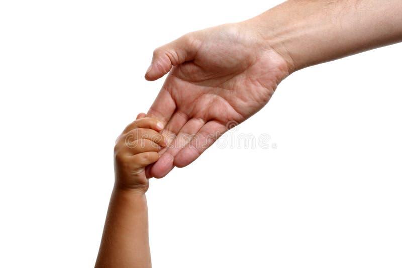 Mani della holding del figlio e del padre fotografia stock libera da diritti