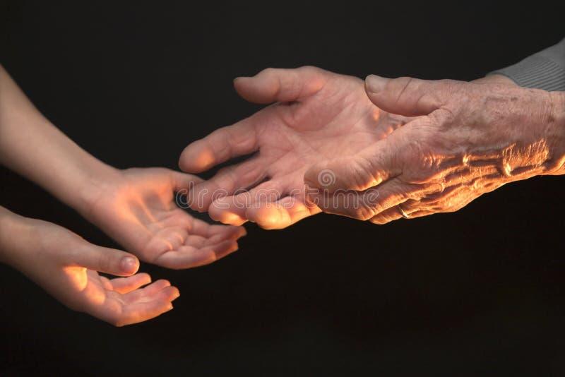 Mani della nonna e del nipote fotografia stock