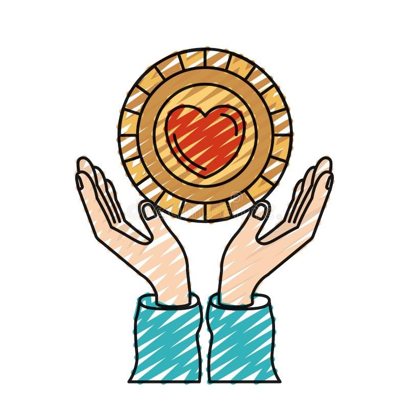 Mani della siluetta del pastello di colore con la moneta di galleggiamento con forma del cuore dentro il simbolo di carità illustrazione di stock