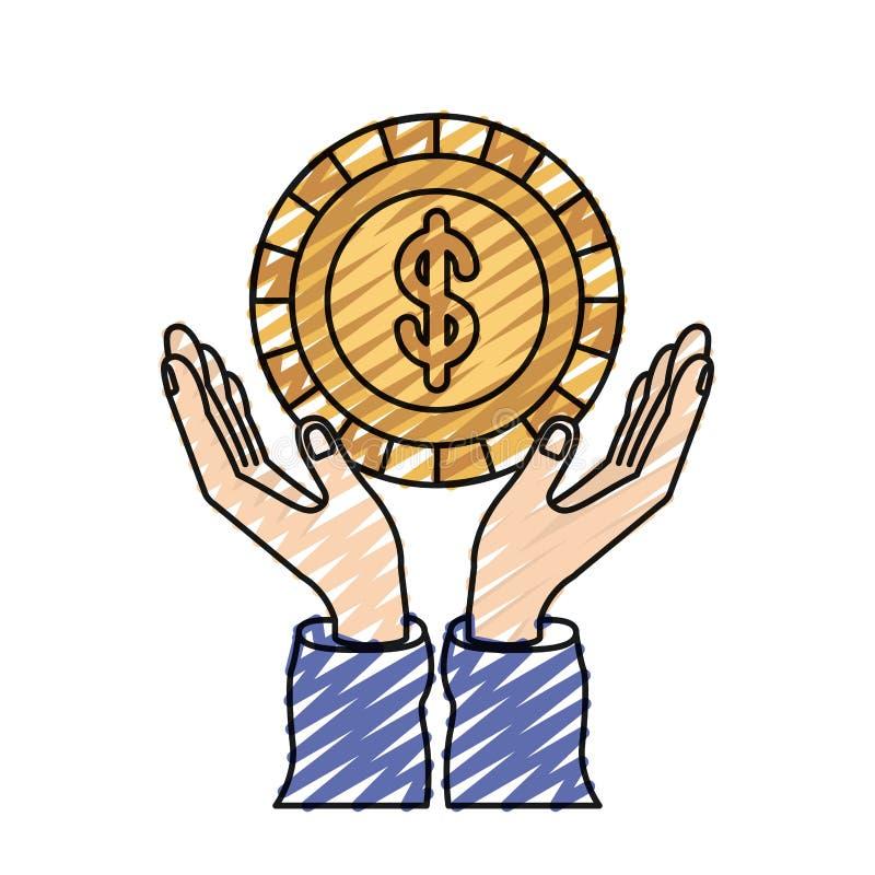 Mani della siluetta del pastello di colore con la moneta di galleggiamento con il simbolo del dollaro dentro royalty illustrazione gratis