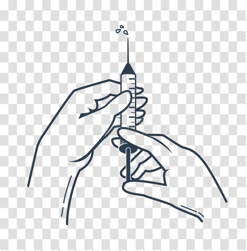 Mani della siluetta di un infermiere medico illustrazione vettoriale