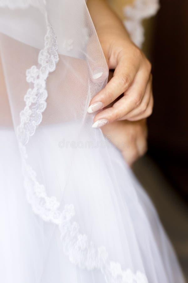 Mani della sposa, donna, ragazza sotto il velo trasparente di nozze immagini stock libere da diritti