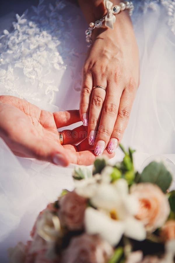 Mani della sposa e dello sposo immagine stock