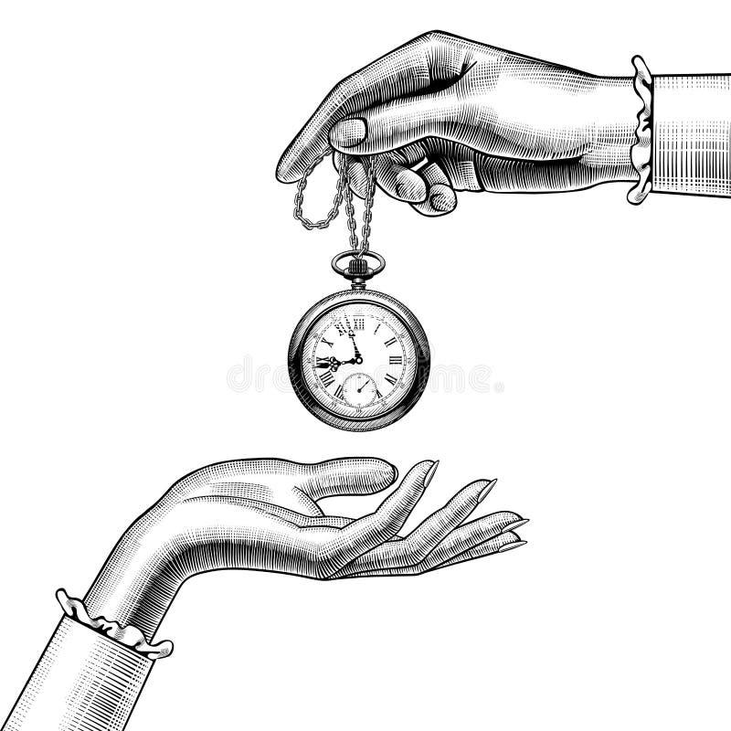 Mani delle donne con un retro orologio da tasca illustrazione vettoriale