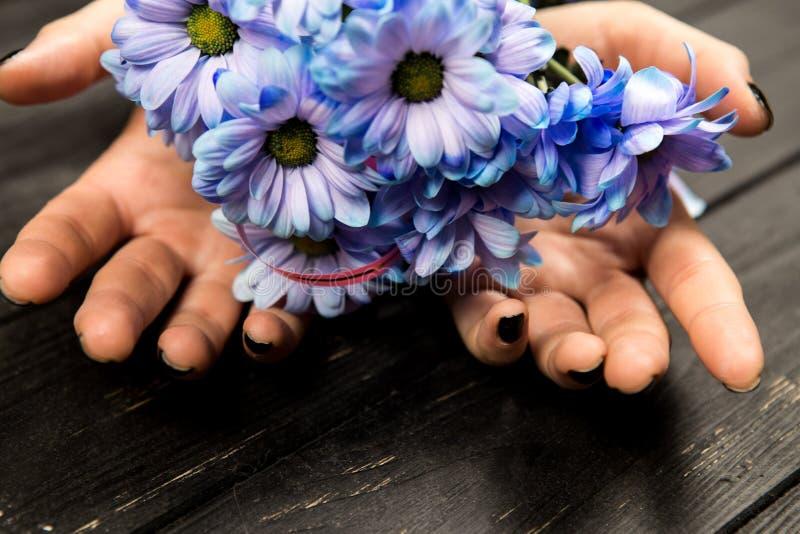 Mani delle ragazze con i bei fiori immagine stock