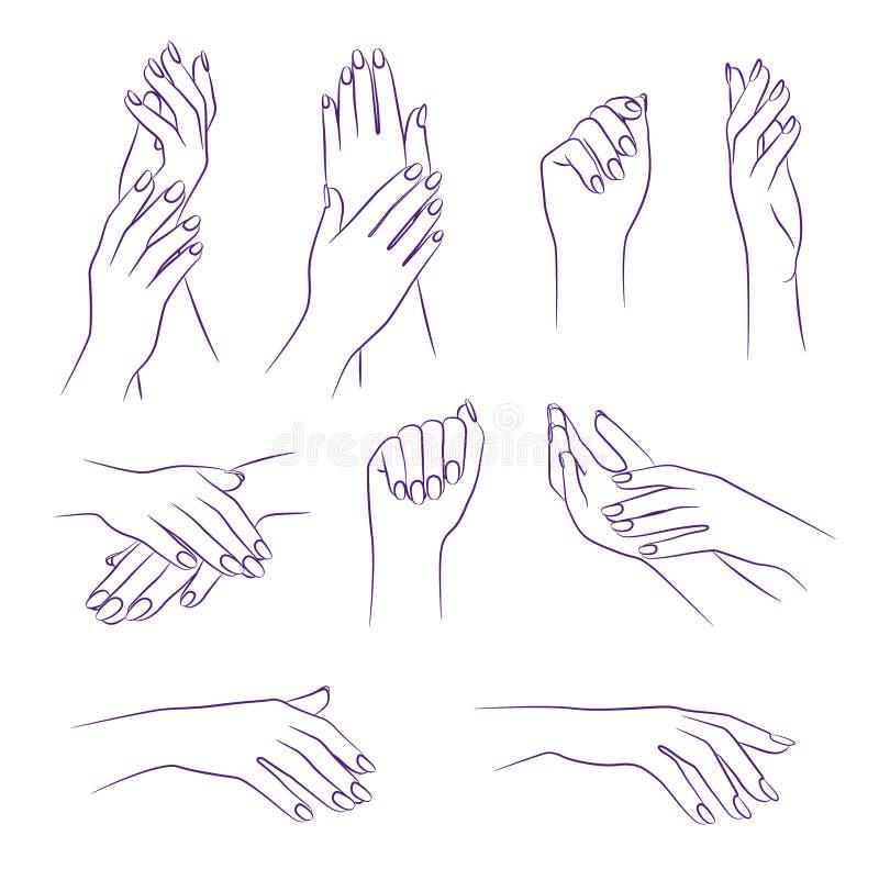 Mani di bellezza, manicure e concetto del salone della stazione termale, vettore illustrazione di stock