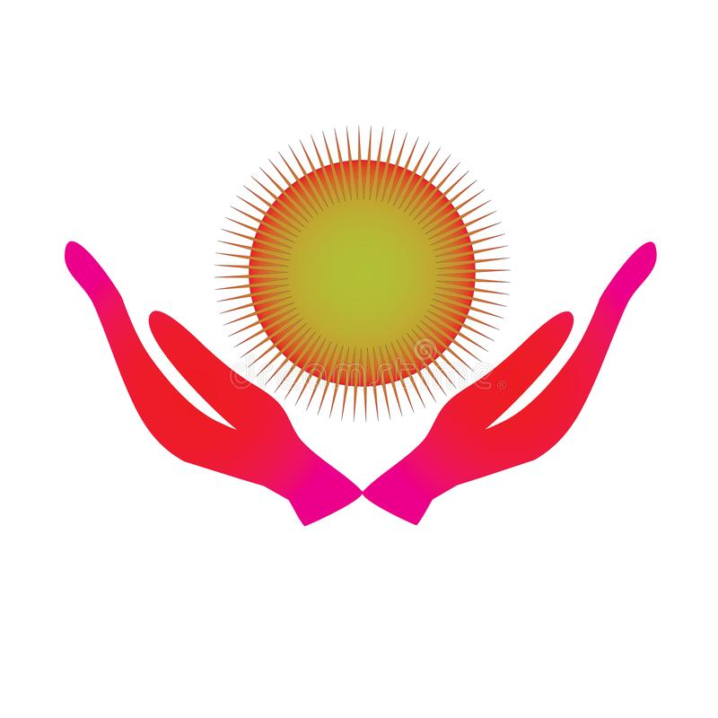 Mani di energia di guarigione e proteggere la luce del sole ogni periodi illustrazione vettoriale