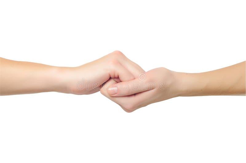 Mani di Fimale nella figura della holding della serratura immagini stock libere da diritti