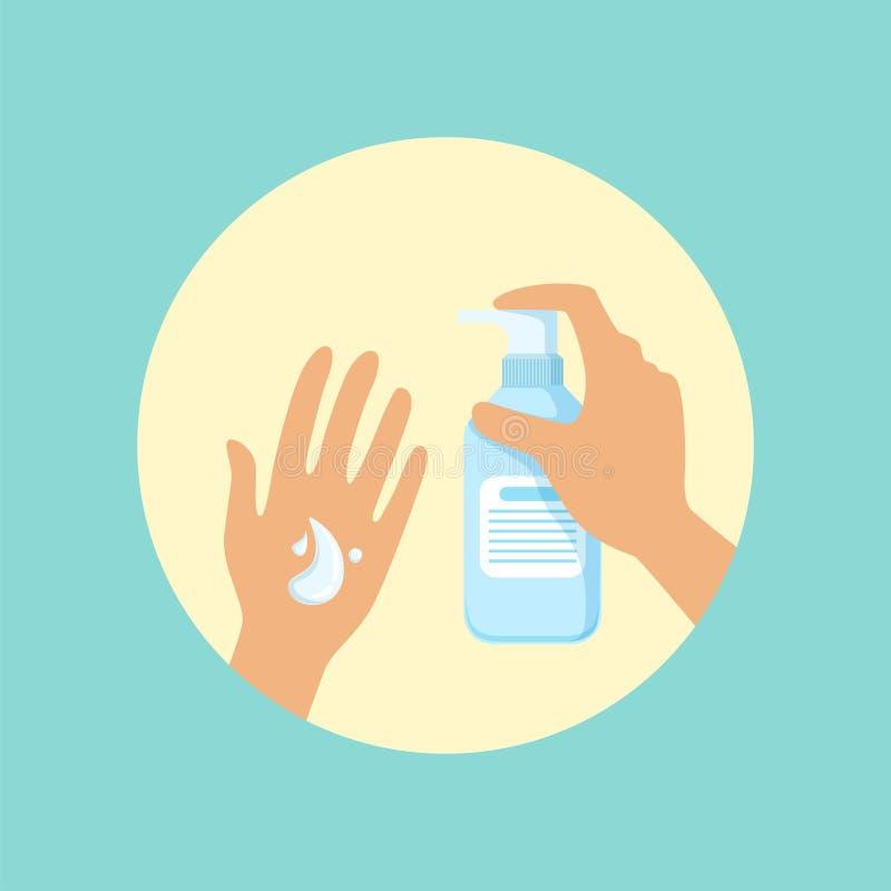 Mani di lavaggio con l'illustrazione rotonda di vettore del sapone liquido royalty illustrazione gratis