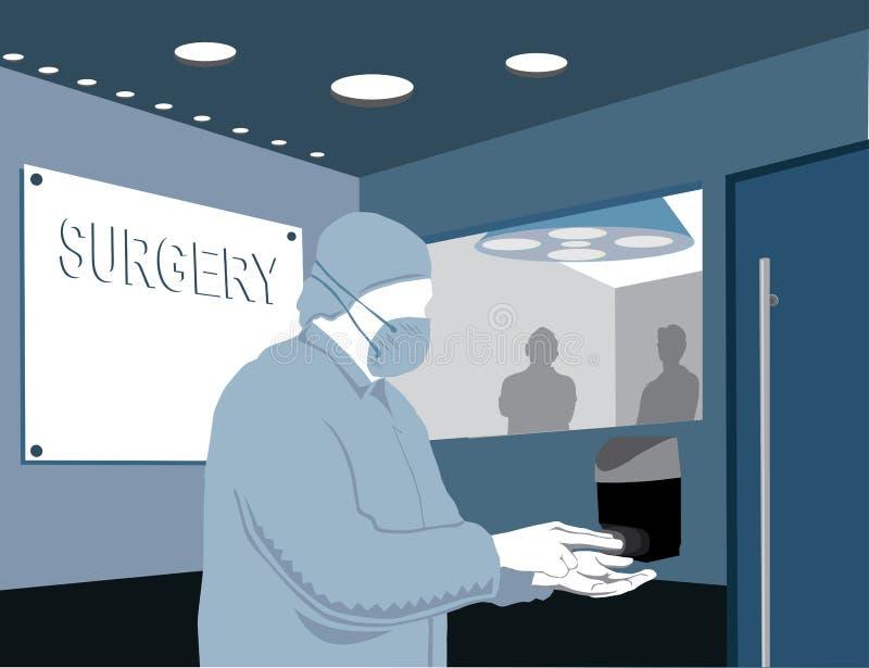Mani di lavaggio del chirurgo illustrazione vettoriale