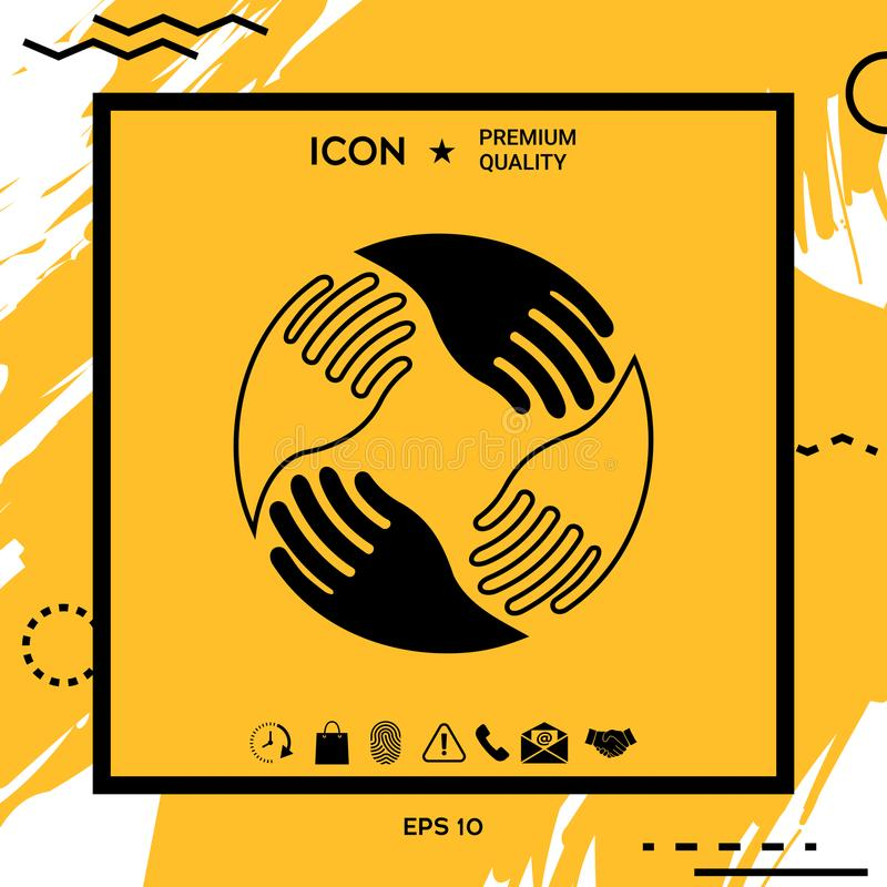 Mani di lavoro di squadra Logo umano del collegamento royalty illustrazione gratis