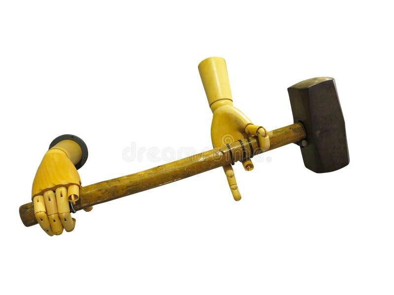 Mani di legno astratte che giudicano martello isolato sopra bianco fotografia stock