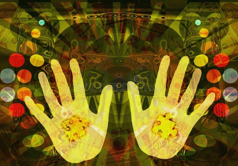 Mani di mago, giocatore di mondi illustrazione vettoriale