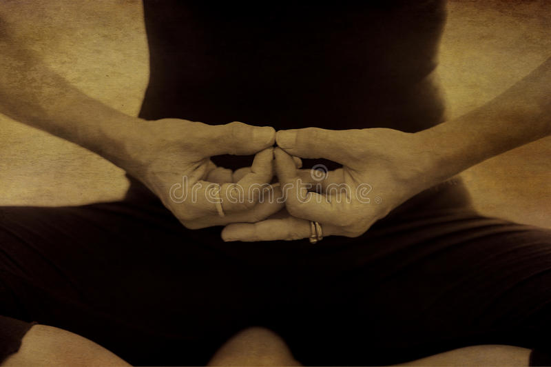 Mani di meditazione di yoga fotografia stock libera da diritti