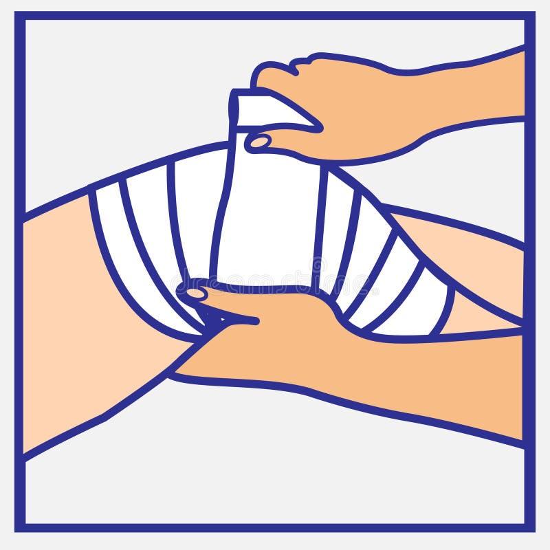 Mani di Person's che avvolgono una fasciatura su un ginocchio danneggiato royalty illustrazione gratis
