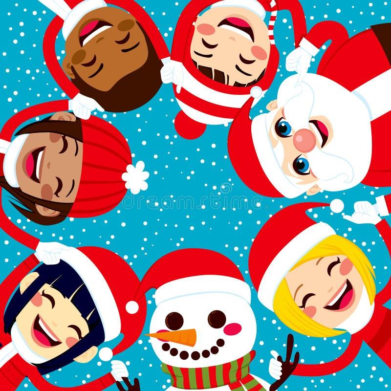 Mani di Santa Snowman And Children Holding illustrazione vettoriale
