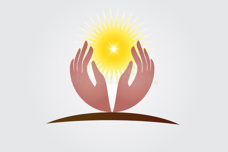 Mani di speranza e vettore di logo di luce solare royalty illustrazione gratis