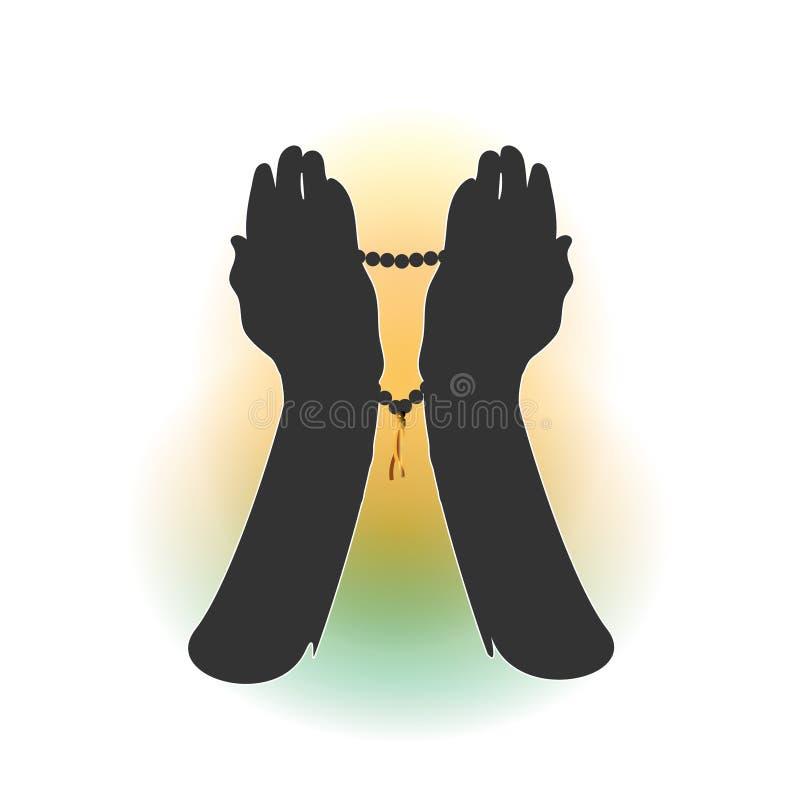Mani di un musulmano che prega, sopra i precedenti bianchi Per il pellegrinaggio alla Mecca, Umrah, il Ramadan, Arafat, preghiera royalty illustrazione gratis